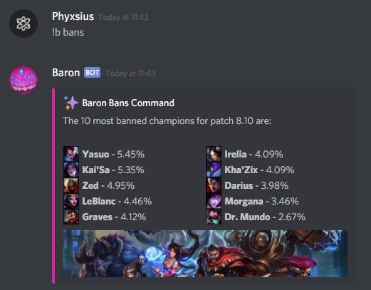 Baron, a LoL Discord Bot.