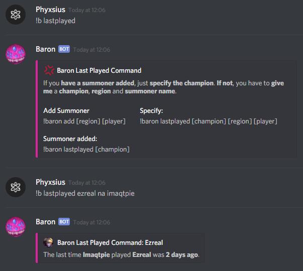 Baron, a LoL Discord Bot